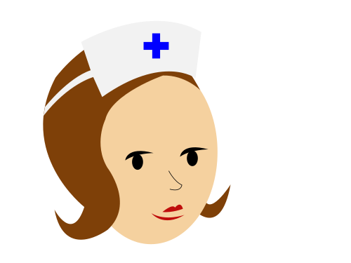 nurse brunette blue